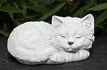 Steinfigur Katze schlafend - Antik-Weiss, Garten,
