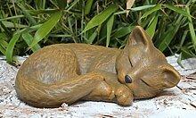 Steinfigur Katze schlafend - Hellbraun, Garten,