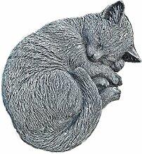 Steinfigur Katze Schlafend Mieze Tierfigur
