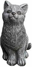 Steinfigur Katze sitzend - Schiefergrau, Garten,