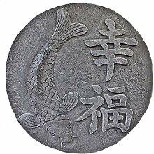Steinfigur Koi Relief Chinesische Schriftzeichen