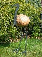 Steinfigur Kranich Höhe 70 cm Gartendeko Steinvogel