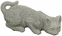 Steinfigur lauernde Katze, Gartenfigur, Tierfigur,