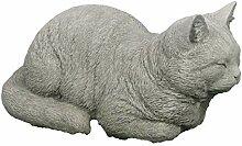 Steinfigur liegende Katze, Gartenfigur, Tierfigur,