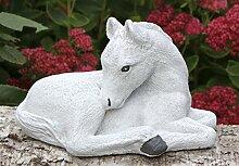 Steinfigur Pferd klein - Antik-Weiss, Fohlen,