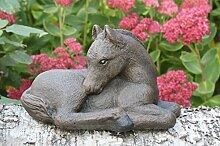 Steinfigur Pferd klein - Dunkelbraun, Fohlen,