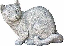 Steinfigur sitzende Katze, Tierfigur aus Steinguss