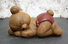 Steinfigur Teddybär schlafend - Hellbraun,