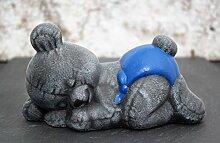 Steinfigur Teddybär schlafend - Kindergrab Deko