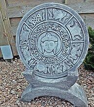 Steinfigur Trittplatte zum Aufstellen Wandrelief Buddha Steinguss Gartenfigur