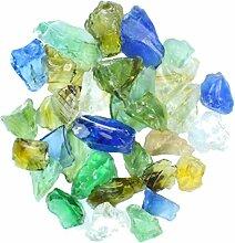 Steingrau Glassplitt Korngrößen 10-30mm farbmix