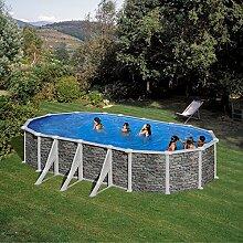Steinoptik Stahl Pool Gre Cerdeña 610 x 375 x 120 cm