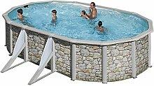 Steinoptik Stahl Pool Gre Corcega 730 x 375 x 132 cm