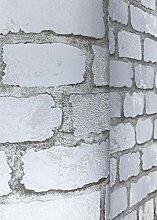 Steinoptik Tapete Weiß - mit Stein-Optik Muster -