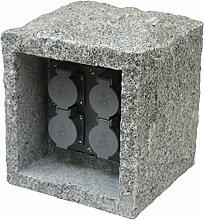 Steinsteckdose 4-fach rund aus Echtstein Granit Granitsteckdose