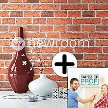 Steintapete in Rot | schöne edle Tapete im Steinmauer Design | moderne 3D Optik für Wohnzimmer, Schlafzimmer oder Küche inklusive der Newroom-Tapezier-Profibroschüre mit Tipps für perfekte Wände