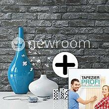 Steintapete in Schwarz | schöne edle Tapete im Steinmauer Design | moderne 3D Optik für Wohnzimmer, Schlafzimmer oder Küche inklusive der Newroom-Tapezier-Profi-Broschüre, mit Tipps für perfekte Wände
