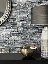 Steintapete Vlies Stein Muster Grau | schöne edle Tapete im Steinmauer-Design | moderne 3D Optik für Wohnzimmer, Schlafzimmer oder Küche inkl. Newroom-Tapezier-Profibroschüre mit super Tipps!