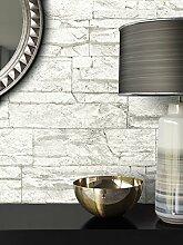 Steintapete Vlies Weiß | schöne edle Tapete im