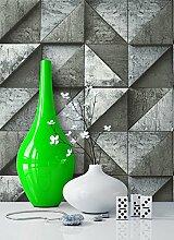 Steintapete Vliestapete Dunkelgrau Edel , schöne edle Tapete im Grafik Design , moderne 3D Optik für Wohnzimmer, Schlafzimmer oder Küche inklusive der Newroom Tapezier Profibroschüre mit super Tipps!