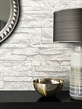 Steintapete Vliestapete Weiß , schöne edle Tapete im Steinmauer Design , moderne 3D Optik für Wohnzimmer, Schlafzimmer oder Küche inklusive der Newroom Tapezier Ratgeber mit Tipps für perfekte Wände