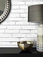 Steintapete Weiß Natur Stein | schöne edle Tapete im Steinmauer Design | moderne 3D Optik für Wohnzimmer, Schlafzimmer oder Küche inkl. Newroom Tapezier Profibroschüre mit super Tipps!