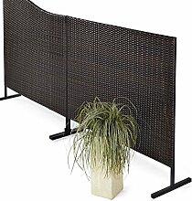 Stellwand Sichtschutz Terrasse Kunstrattan braun-schwarz 150 x 4,5 x 130 cm