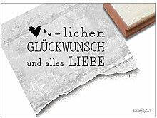 Stempel - Textstempel HERZLICHEN GLÜCKWUNSCH und