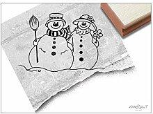 Stempel XL Weihnachtsstempel SCHNEEMANN mit Frau -