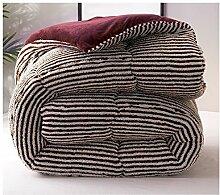 Steppdecke, Luxus Lammfell Heimtextilien Licht Weich Warm warm Dicker Home Individuell Doppel Winter Studentenschlafsaal 180 × 220cm ( Farbe : Braun , größe : 200*230cm 3.5kg )
