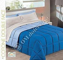 Steppdecke Winter Uni Wendebettwäsche 100% Baumwolle Farbe Blau Hellblau Größe Doppelbett cm 260x 270hergestellt in Italien