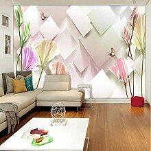 Stereo Quadrat Blumen Fototapete für Schlafzimmer