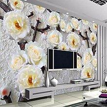 Stereoscopic Relief-Blumen-nichtgewebte Tapete der