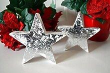 Stern aus Holz 2 Stück Satz silber weiß Weihnachten Winterdeko Xmas Deko Skulptur ca. 13cm