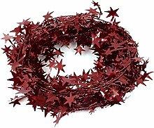 Stern-Detail Hängen Tinsel Garland Weihnachten Home Dekoration 33ft Red