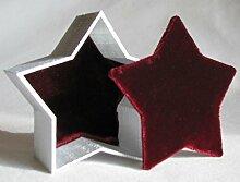 Stern Dose Dekodose Geschenkbox Schmuckdose edel mit Samt (silber)