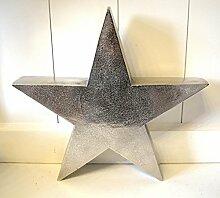 Stern Skulptur Aluminium rustikal Metall ca. 30cm Durchm. Deko antik-silber Weihnachten Xmas