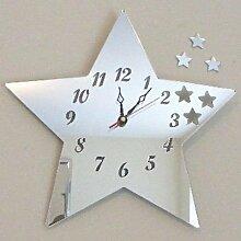 Stern Spiegel - 35cm Uhr Spiegel mit schwarzen
