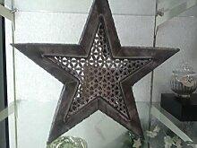 Stern T-Lichthalter, antik-schwarz 36x36x8