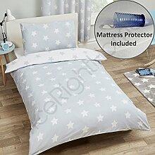 Sterne Grau / Weiß Junior Bettbezug Set + Wasserdicht Kinderbett Matratzenschoner
