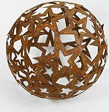 Sternen Kugel Metall Rost Gartendeko Edelrost 30cm