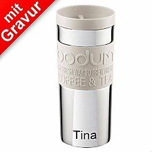 Sterngraf Bodum TRAVEL MUG Travel mug, 0.35 l, Edelstahl cremefarben MIT GRAVUR (z.B. Namen) - Kaffeebecher, Isolierbecher
