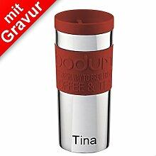 Sterngraf Bodum TRAVEL MUG Travel Mug, 0.35 l, Edelstahl rot MIT GRAVUR (z.B. Namen) - Kaffeebecher, Isolierbecher