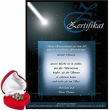 Sternschnuppe kaufen - echte Meteorite hier als romantisches Geschenk bestellen - persönliche Geschenke für Frauen & Männer (Stein 4-6 g Blanko Urkunde) - auch zu Weihnachten oder Valentinstag