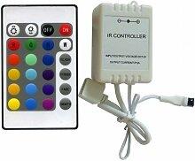 Steuergerät Regler Streifen LED RGB Controller mit Fernbedienung 24Tasten IR Infrarot 12/24DC