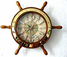 Steuerrad aus Holz mit Uhr und Knoten Ø ca. 28cm Messing
