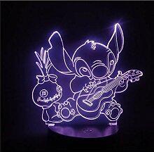 Stich spielen Gitarre Cartoon 3D Nachtlicht Lampe
