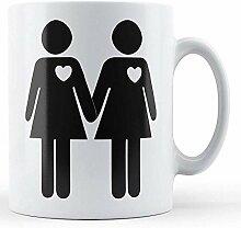 Stick Frauen Herzen bedruckte Tasse