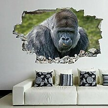 Sticker 3D Effekt | Wandaufkleber Gorilla- Tapete