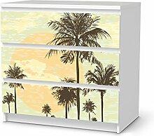 Sticker Möbel für IKEA Malm 3 Schubladen | Möbelfolie Klebetapete Folie Aufkleber Möbel folieren | kreativ einrichten Wohnzimmer-Möbel Deko Artikel | Design Motiv Beach Palms